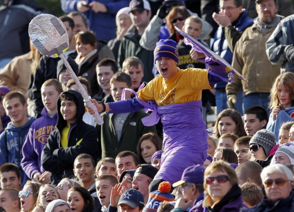 A Cheverus student cheers his school's team during the Class A state championship football game victory over Lawrence, Saturday, Nov. 19, 2011, at Fitzpatrick Stadium in Portland.