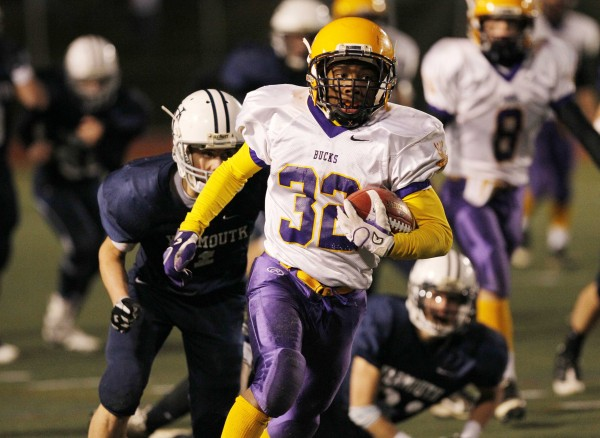 Bucksport's Josh Gray runs for a touchdown in the fourth quarter of a loss to Yarmouth in the Class C state championship football game, Saturday, Nov. 19, 2011, at Fitzpatrick Stadium in Portland.