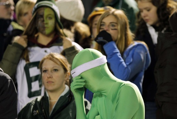 Leavitt fans see their hopes of winning slip away during the Class B state championship football game against Wells, Saturday, Nov. 19, 2011, at Fitzpatrick Stadium in Portland.