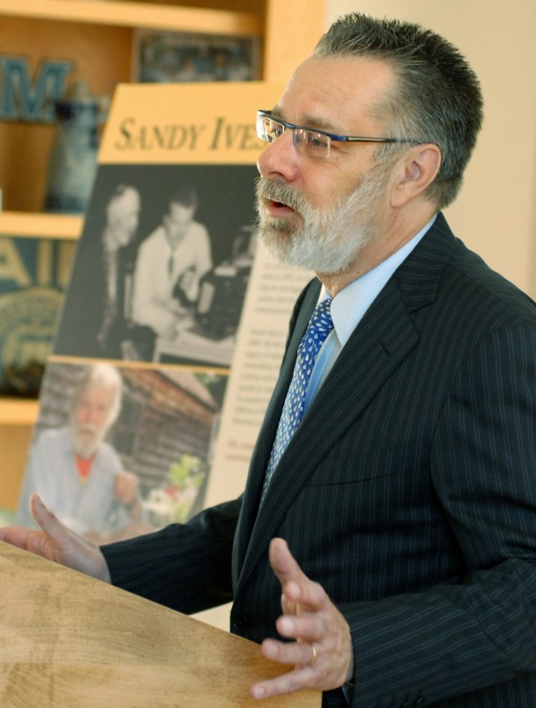 David Taylor, Head of Research and Programs of the American Folklife Center at the Library of Congress, speaks at Maine's Buchanan Alumni House Wednesday, Nov. 16, 2011 about an agreement between the University and the Library of Congress that will allow for the preservation of an invaluable collection, known as the Northeast Archives of Folklore and History, to be held at UMaine's Folklife Center.
