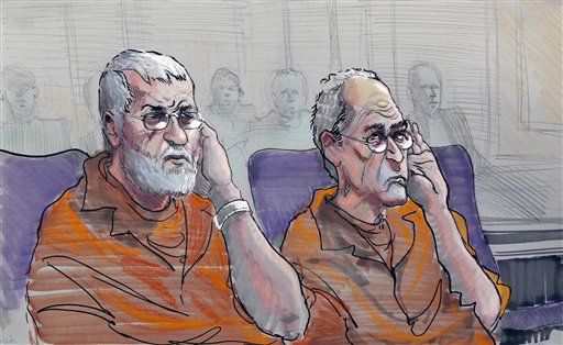 Dan Roberts, left, and Frederick Thomas are shown in this artist rendering as he appear in a federal courtroom in Gainesville, Ga., Wednesday, Nov. 2, 2011.