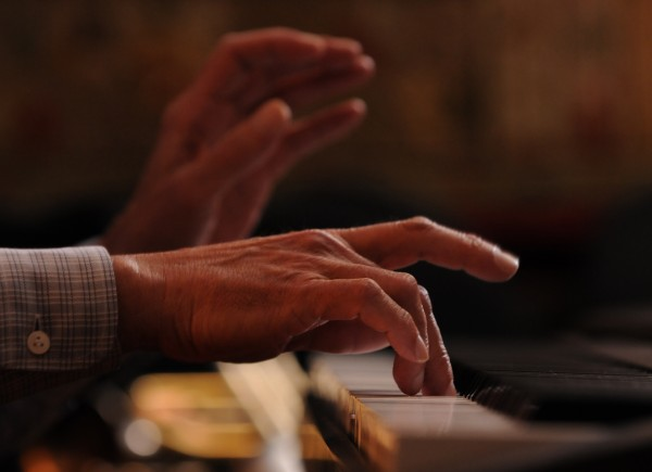 Nimble fingers dance on a keyboard during a jazz jam at Nocturnem Draft Haus in Bangor on Tuesday, Nov. 22, 2011.
