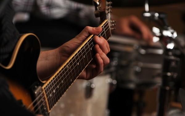 Jazz guitarist Josh Small plays guitar during a jazz jam at Nocturnem Draft Haus in Bangor on Tuesday, Nov. 1, 2011.