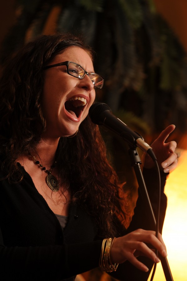 Singer Stesha Cano belts out a song during a jazz jam at Nocturnem Draft Haus in Bangor on Tuesday, Nov. 1, 2011.