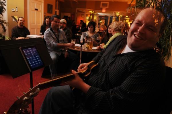 Jazz guitarist Josh Small enjoys a solo during a jazz jam at Nocturnem Draft Haus in Bangor on Nov. 1, 2011.