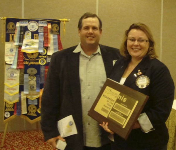Katie Tarbox of Spruce Head (right), accompanied by her husband, Brian, was named the Kiwanis Club of Rockland Kiwanian of the Year for outstanding community service. The award was presented at the annual installation and recognition banquet on Oct. 3.