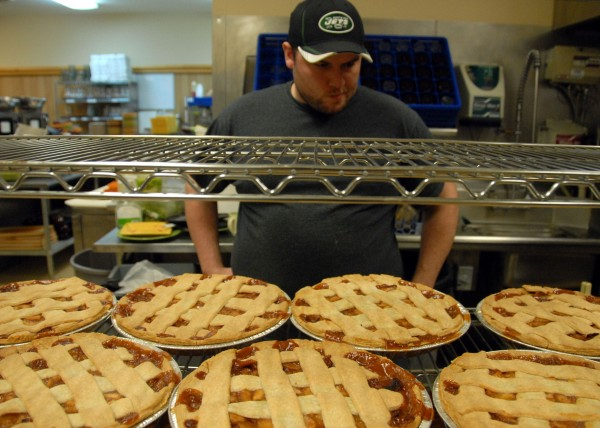 Gillmor's Restaurant manager and head chef Cole Averill baked dozens of pies Wednesday for a free Thanksgiving Day dinner it will offer on Thursday, Nov. 23, 2011.