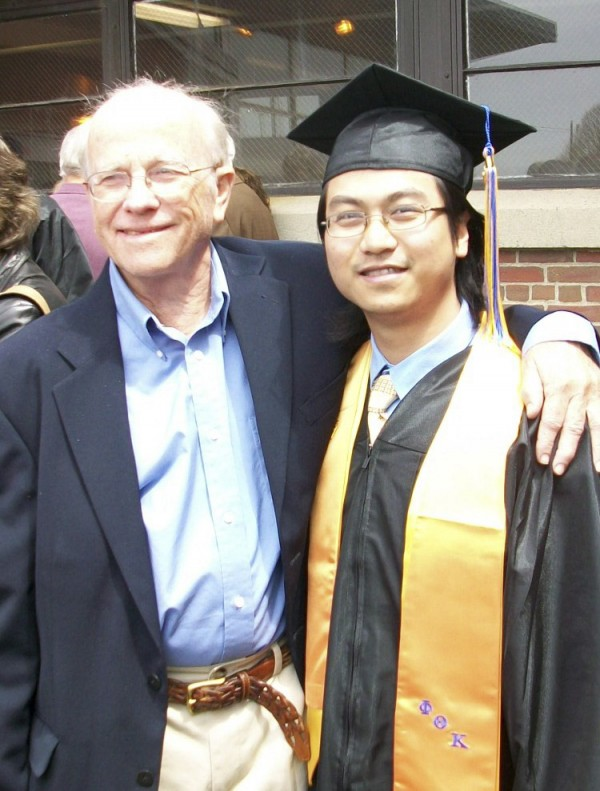 Longtime literacy volunteer Phil Locke with one of his students, Hoang Lam, at Hoang's graduation from Eastern Maine Community College in 2009.