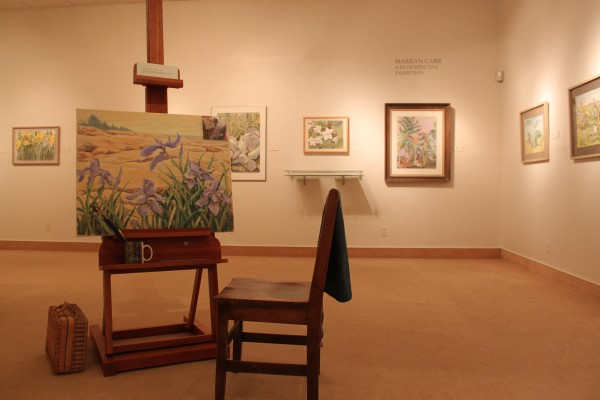 """Irises at Schoodic,"" 2009, the last painting by Marilyn Carr (1932-2009), greets visitors to an exhibit of her artwork at the University of Maine at Machias Art Gallery in Powers Hall. The exhibit runs through November."