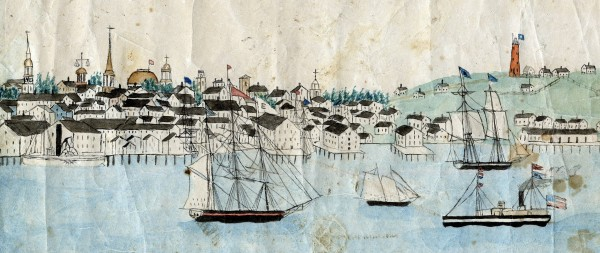 Portland Harbor detail from a 30' x 2' panorama roll, circa 1850. From the Maine Maritime Museum collection.