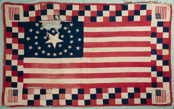 In early summer 1864, Belfast women made a flag bed quilt and shipped it to a Washington, D.C. mili-tary hospital. Written in ink on the quilt were the women's names and phrases and puns relating to the Civil War. The quilt vanished until turning up in a Montana closet earlier this year; the Belfast Historical Society received the quilt on March 11, 2011, almost 147 years after it left Belfast.