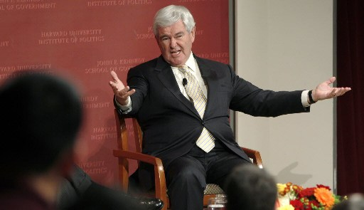 Republican presidential candidate Newt Gingrich gestures during a visit to the John F. Kennedy School of Government at Harvard University in Cambridge, Mass., Friday, Nov. 18, 2011.