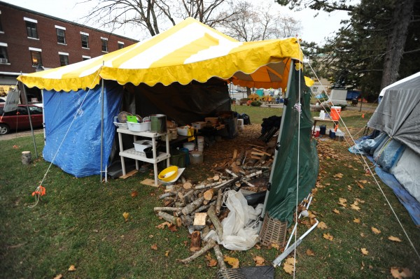 The Occupy Bangor food preparation tent in Peirce Park as seen on Wednesday, Nov. 16, 2011.