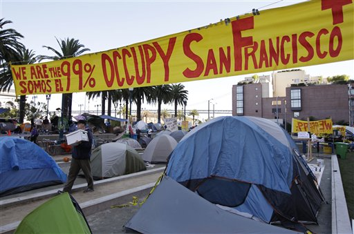 View of an encampment of Occupy San Francisco protest in downtown San Francisco on Wednesday, Oct. 26, 2011.
