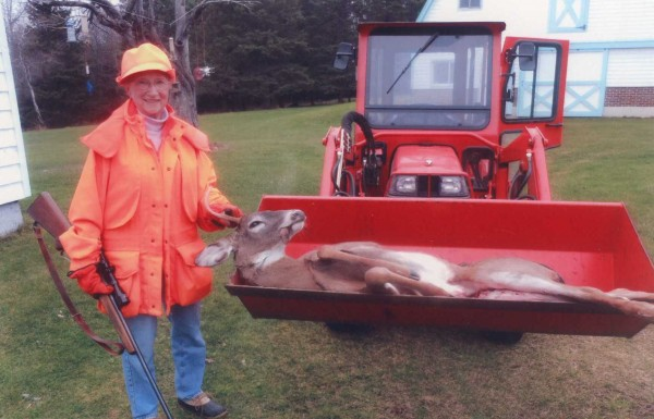 Virginia Mattson-Tracy, 81, of Hermon shot this six-point buck after spying it through her kitchen window.