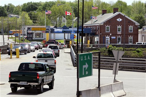 Motorists from St. Stephen, New Brunswick, Canada, wait to go through U.S. Customs at Calais, Maine, in 2006 at the nation's seventh-busiest crossing on the Canadian border, where about 4,200 vehicles cross into Calais each day.