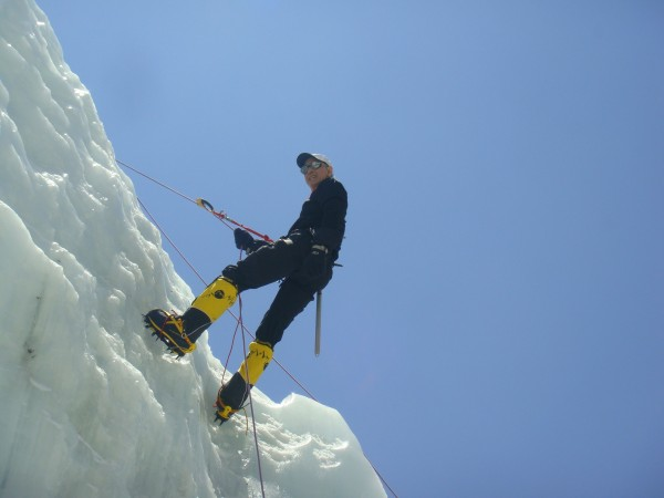 Frank Slachman on an ice cliff, above, during his ascent of Mount Everest. He made the summit in 2009 on his second attempt. The Sacramento cardiac surgeon confesses to a fear of heights.