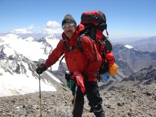 Frank Slachman on Aconcagua, South America's highest peak. He plans to soon climb Mount Vinson, an icy 16,061-foot peak in Antarctica — his last of the Seven Summits.