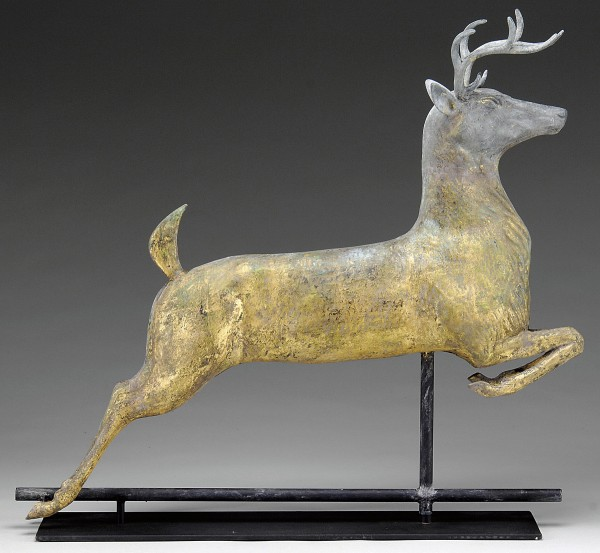 The molded leaping stag weathervane sold for $10,350 this summer in a James D. Julia auction in Maine.