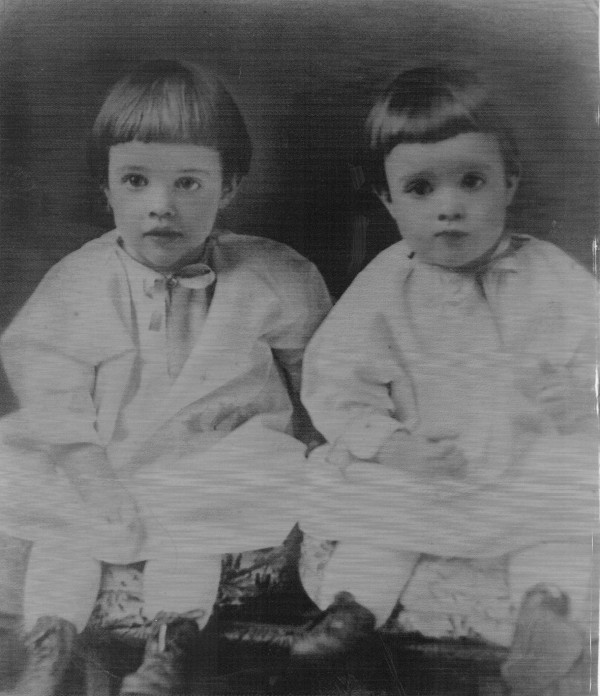 Young twins Bernice and Beatrice Littlefield in a Penobscot Times photo.