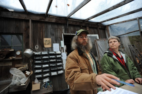 Peter Beckford and his wife, Julie, hold a press conference inside their greenhouse on their property in Clifton on Thursday, Nov. 10, 2011. The Beckfords are filing an appeal with the town of Clifton, opposing the Pisgah Mountian wind project.