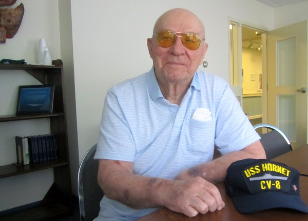 Don Hayner, a three-war veteran. He was a part of the crew of the USS Hornet, CV8, when it sank in the South Pacific in 1942. The Hornet was the last U.S. aircraft carrier to be sunk by enemy fire.