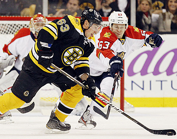 Florida Panthers' Evgenii Dadonov (right) defends against Boston Bruins' Brad Marchand in the first period of an NHL hockey game in Boston on Friday night. Marchand had a hat trick in the Bruins' 8-0 shutout of the Panthers.