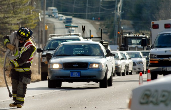 Traffic backs up on Route 1A in Dedham following a head-on collision Tuesday that resulted in one fatality.