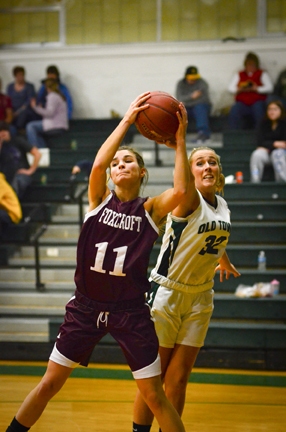 Old Town's Ashley Abbott steals the ball from Foxcroft Academy