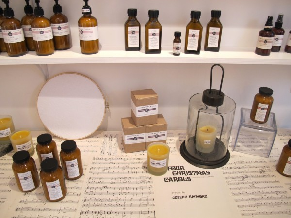 A holiday display of candles, body and home products at the 2 Note Botanical Perfumery store in Portland.