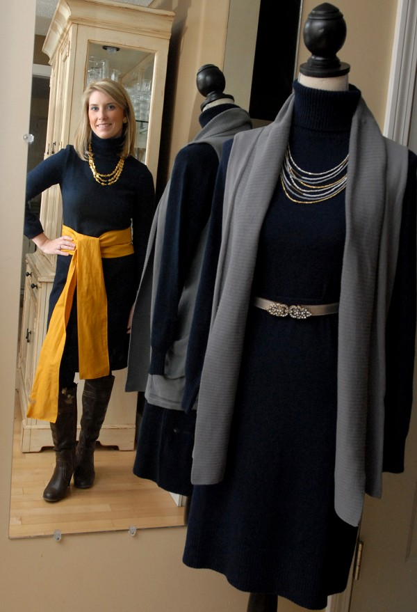 Susan Stephenson of Bangor models a dress she will wear for 30 days, 30 ways to benefit Dress for Success Southern Maine. A duplicate dress is accessorized differently to show an example of another look.
