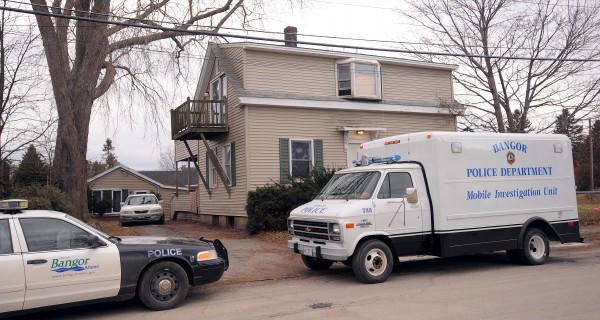 Bangor Police investigated inside a house on Allen Street in Bangor on Friday.