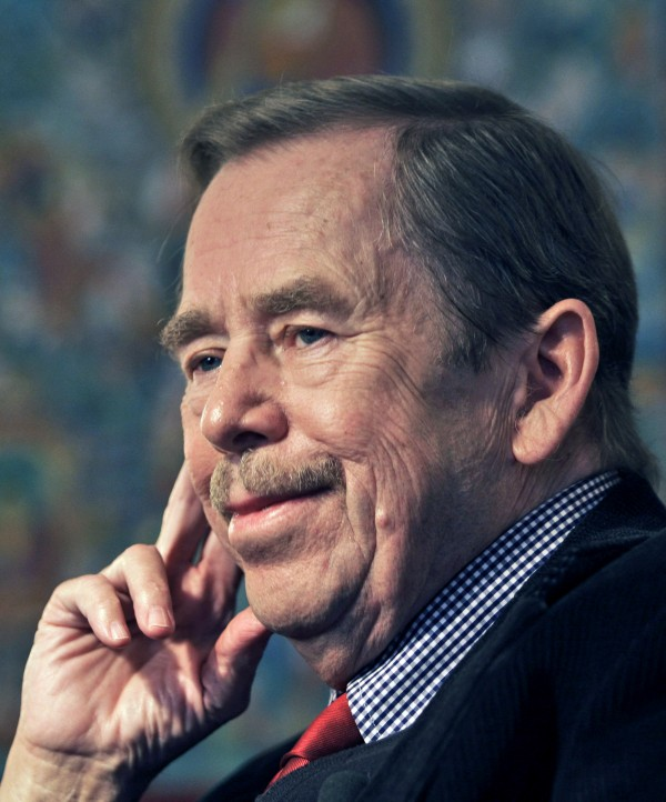 In this Oct. 3, 2008 file photo, former Czech Republic's President Vaclav Havel looks on during an exclusive interview with The Associated Press in Prague, Czech Republic.