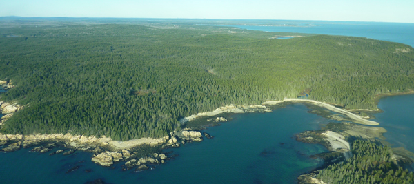 Aerial view of Winter Harbor property.