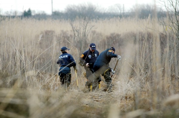 Crime Scene investigators use metal detectors to search a marsh for the remains of Shannan Gilbert on Monday, Dec. 12, 2011 in Oak Beach, New York.