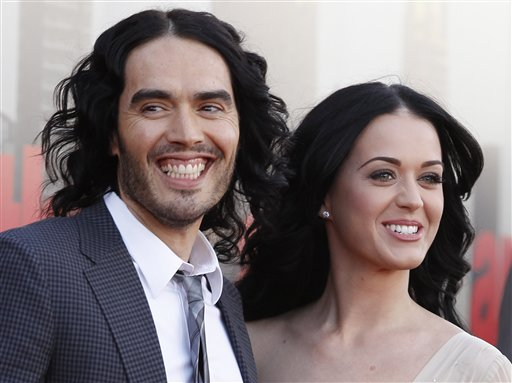 British actor Russell Brand and his wife, Katy Perry, arrive for the European premiere of &quotArthur&quot in London on Tuesday, April 19, 2011.