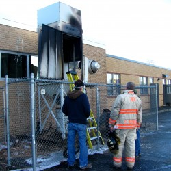 Fire damages loader behind Ellsworth High while fire inspector was at school