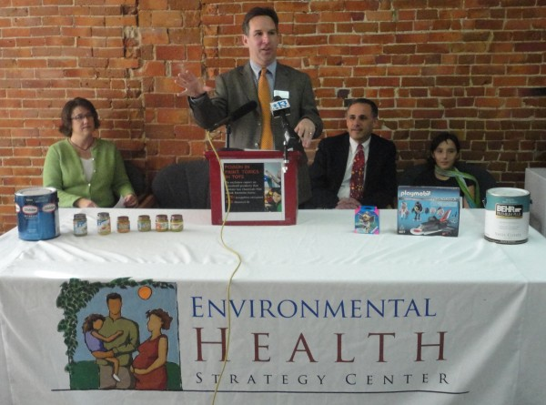 Steve Taylor, program manager for the Environmental Health Strategy Center, addresses reporters in Portland on Tuesday about common products containing bisphenol A and nonylphenol ethoxylates, chemicals he described as toxic. Seated behind Taylor are Julie Wagner, a mother and leader of a local chapter of the Holistic Moms Network, pediatrician Jonathan Fanburg and daughter Lily Fanburg.