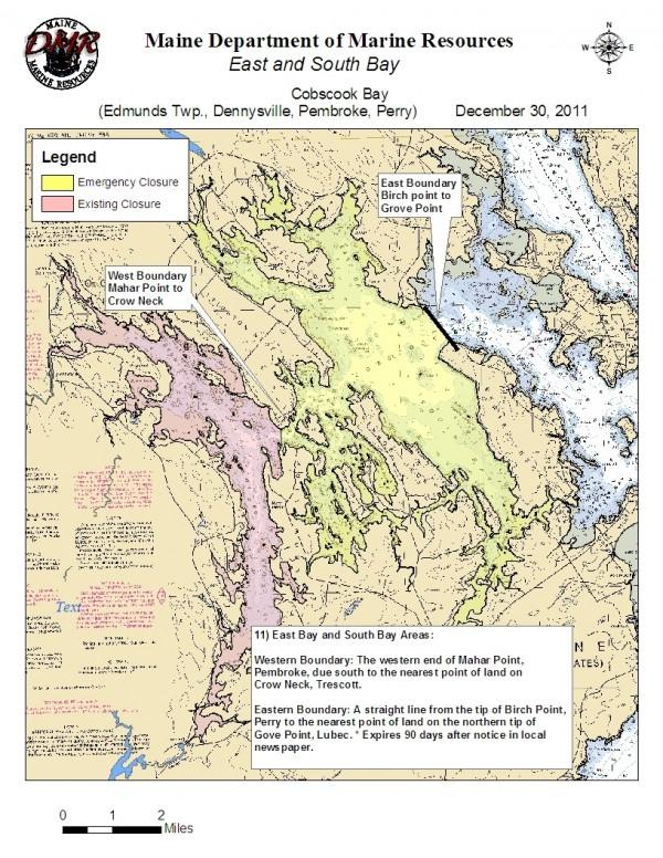 Cobscook Bay emergency closure map