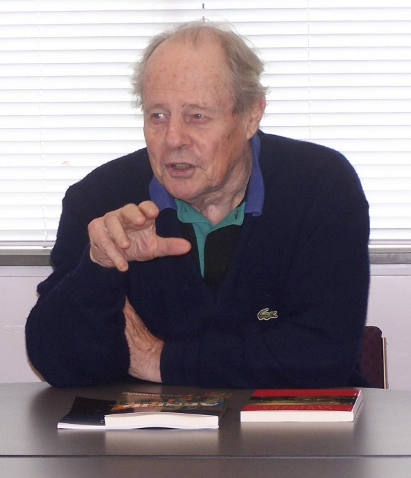 Herbert Coursen Jr. lecturing at Curtis Library in Brunswick.