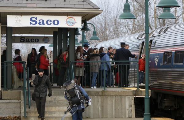 Passengers board the Amtrak Downeaster in Saco on Friday, Dec. 9. The train, which topped 500,000 passengers in its latest fiscal year, celebrates the 10th anniversary of passenger rail service between Portland and Boston.