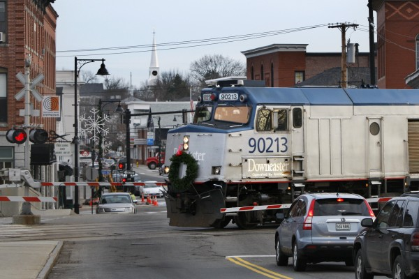 The Amtrak Downeaster travels through Saco on Friday, Dec. 9. The train, which topped 500,000 passengers in its latest fiscal year, celebrates the 10th anniversary of passenger rail service between Portland and Boston.