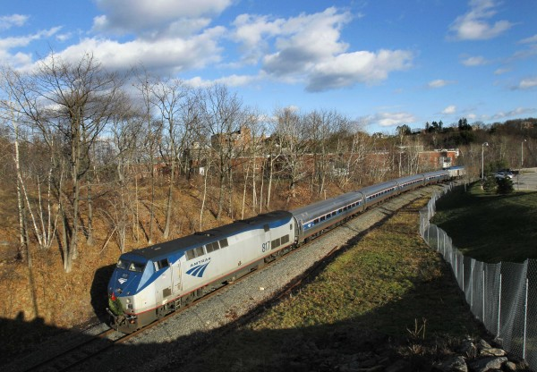 The Amtrak Downeaster travels through Portland on Thursday, Dec. 8. The train, which topped 500,000 passengers in its latest fiscal year, celebrates the 10th anniversary of passenger rail service between Portland and Boston.