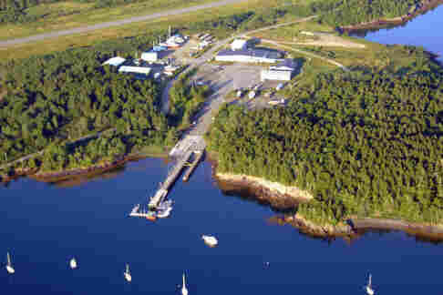 An aerial view of the Eastport Boat School facility.