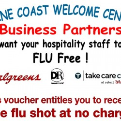 Walgreens Belfast and the Maine Coast Welcome Center offer free flu shots.