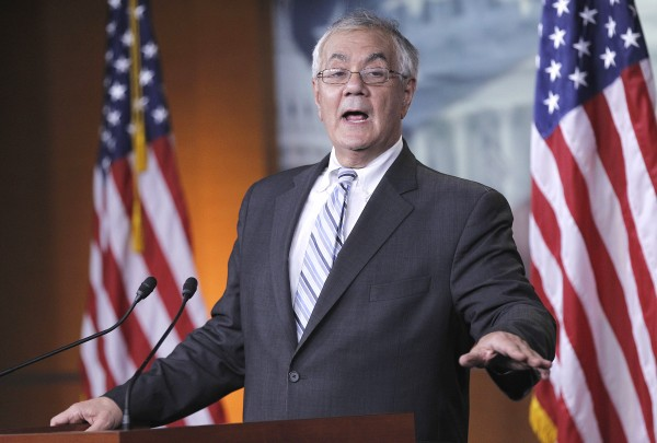Rep. Barney Frank, D-Mass. gestures during his news conference on his retirement, Tuesday, Nov. 29, 2011, on Capitol Hill in Washington.