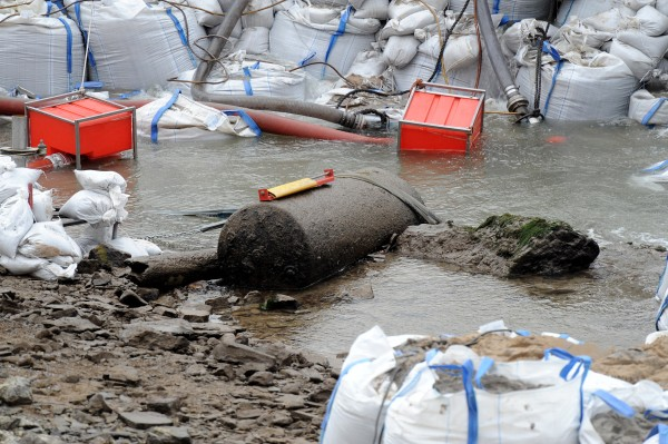 Sandbags frame a 1.8-ton WWII bomb in the Rhine River near Koblenz Saturday, Dec. 3, 2011.