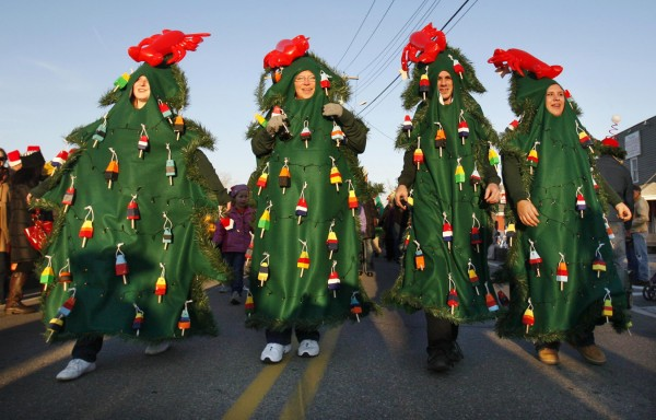 A group of friends from Arundel and Kennebunkport, calling themselves the Town Prelude Tree, march the Hat Parade on Saturday, Dec. 3. They won an award for best handmade costume.