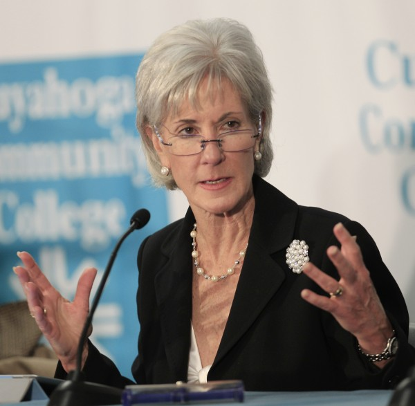 In this Nov. 30, 2011, file photo, U.S. Health and Human Services Secretary Kathleen Sebelius participates in an roundtable discussion on health information technology and job creation at Cuyahoga Community College in Cleveland. The Obama administration says the number of young adults going without medical coverage has shrunk by 2.5 million since the new health care law took effect. The health care overhaul allows young adults to stay on a parent''s plan until they turn 26.
