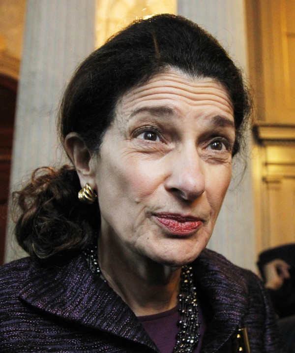 Sen. Olympia Snowe, R-Maine, speaks to reporters on Capitol Hill in Washington in November 2011.
